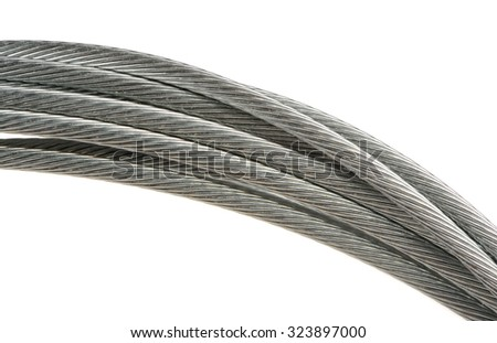 Steel Bicycle Brake Cable on White Background - stock photo
