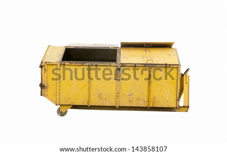 Steel bin in recycle on white background
