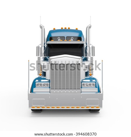 Steel Blue american truck front view isolated on white background - stock photo