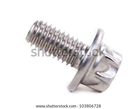 Steel bolt close-up isolated on white background - stock photo