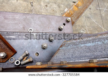 Steel bolt & nut for assembly steel structure - stock photo
