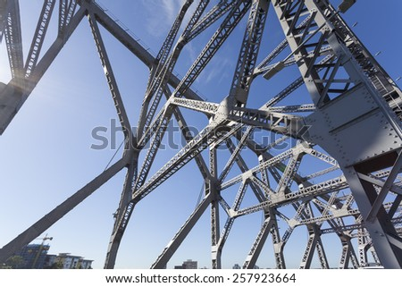 Steel bridge construction - stock photo