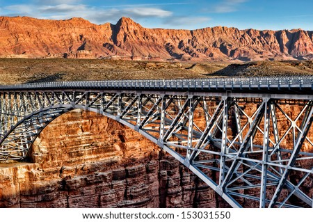Steel bridge over canyon - grand canyon 01 - stock photo
