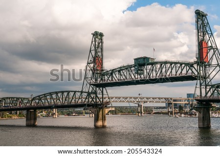 Steel Bridge, Portland, OR - stock photo