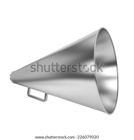 Steel bullhorn. 3d illustration isolated on white background  - stock photo