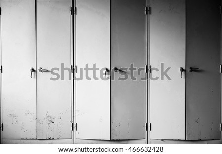 Steel cabinet.black and white picture.