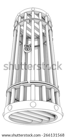 Steel cage. Isolated on white background. 3d - stock photo