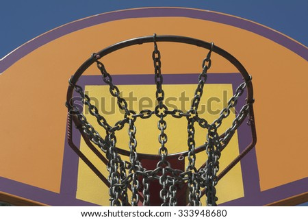 Steel Chain Basketball Net at an Outdoor Recreation Park - stock photo