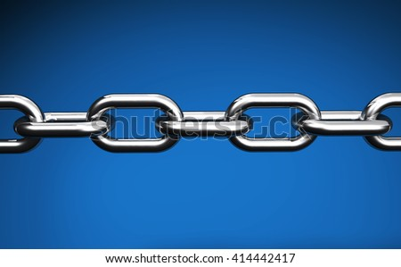 Steel chain web links and business collaboration concept closeup 3D illustration on blue background.