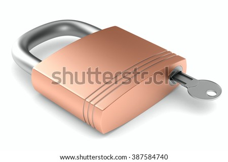 steel closed lock on white background. Isolated 3D image