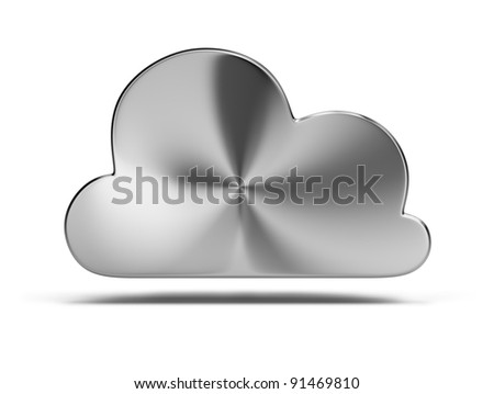 steel cloud. 3d image. Isolated white background. - stock photo