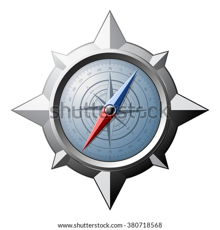 Steel compass with scale and magnetic arrows isolated on white background. Raster illustration.