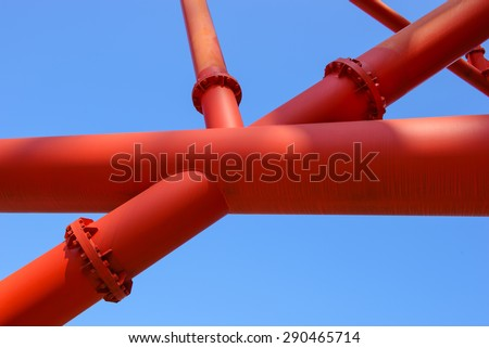 Steel construction frame with blue sky background - stock photo