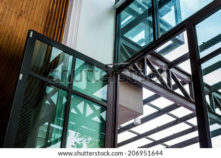 steel construction in building - stock photo
