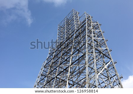 steel construction with blue sky - stock photo