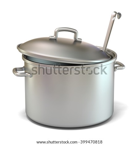 Steel cooking pot with a ladle. 3D render illustration isolated on white background