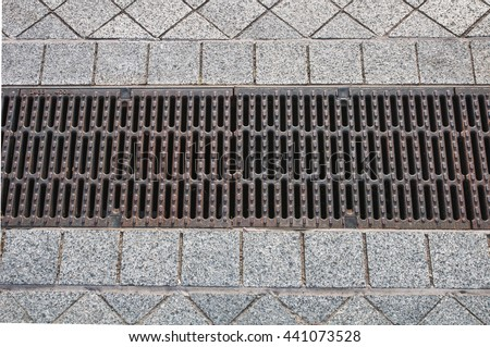 Steel cover drain water   - stock photo