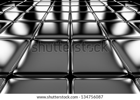 Steel cubes flooring perspective view shiny abstract industrial background