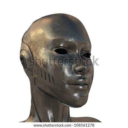 Steel cyborg. 3d image isolated on white / Metal profile of cyber woman - stock photo