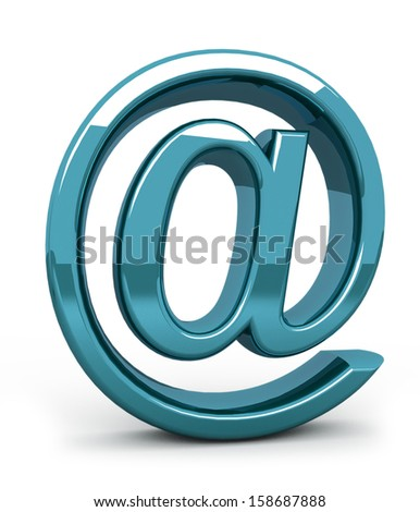 steel e-mail internet  icon 3d  isolated on white - stock photo