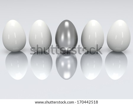 Steel egg in a row of the white eggs. 3D render. Easter, out of crowd, business, tough concept - stock photo
