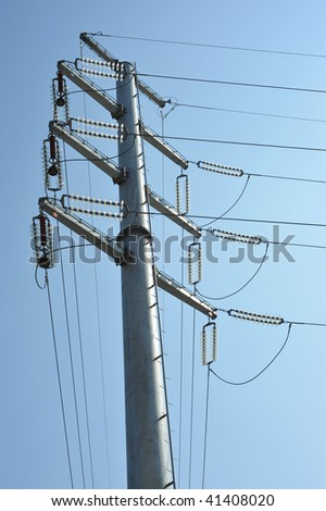 Steel electric pole and blue sky