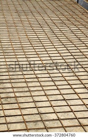 Steel fabric in the road engineering site, closeup of photo - stock photo