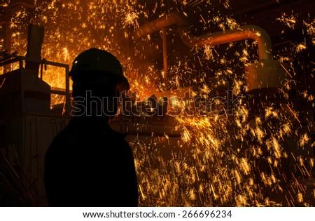 Steel Factory, Melting Iron - stock photo