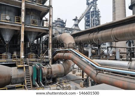 steel factory Pipeline  - stock photo