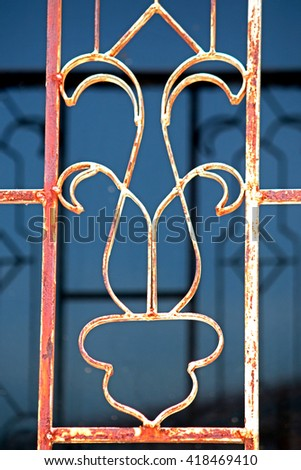Steel fence of gate - stock photo
