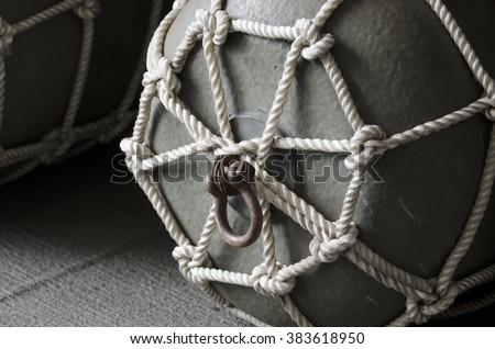 Steel floating buoy rope - stock photo