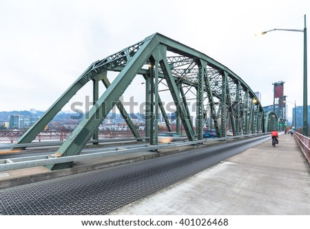 steel footpath near road on bridge in portland - stock photo