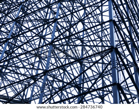 steel framework structure on modern architecture construction