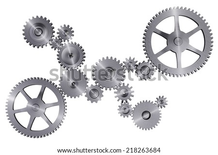 Steel Gears Isolated on White - stock photo