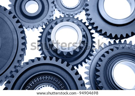 Steel gears meshing together