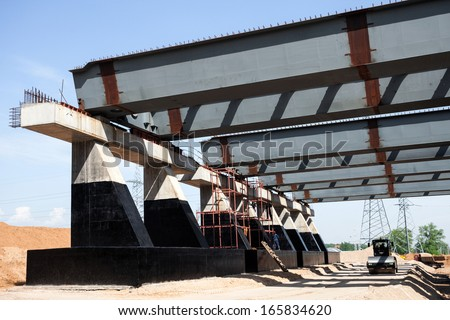 Steel girders for road construction - stock photo