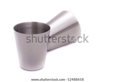 Steel glass on a white background