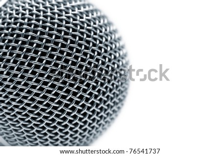 Steel grate of microphone isolated on white - stock photo