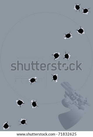 Steel gray background with a revolver, and traces of bullet holes
