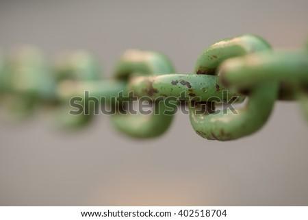 Steel Green Chain - stock photo
