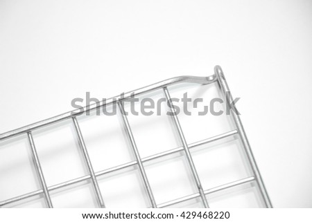 steel grid for grill isolated on white background. - stock photo
