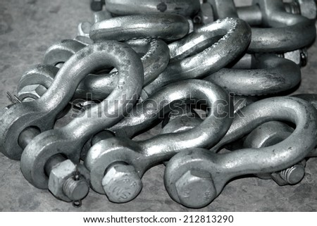 Steel hardware for fitting electrical cable with steel tower - stock photo