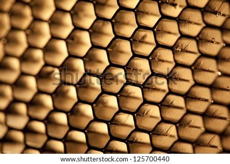 steel honeycomb grid texture - stock photo