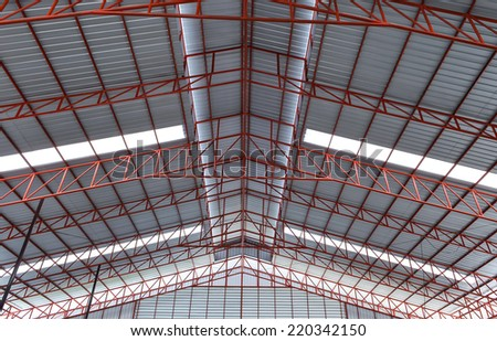 steel industrial building indoor - stock photo