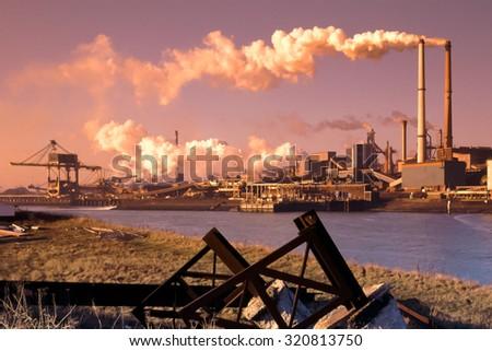 Steel industry in IJmuiden near Amsterdam in the Netherlands - stock photo