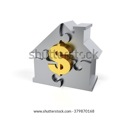 Steel Jigsaw Puzzle house with golden dollar sign - stock photo
