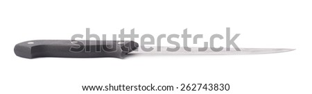 Steel kitchen knife with the black plastic handle isolated over the white background