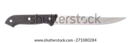 Steel kitchen knife with the black plastic handle isolated over the white background - stock photo