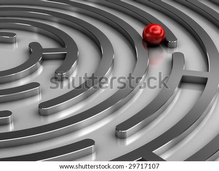 Steel labyrinth - stock photo
