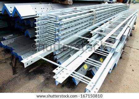 Steel ladder bunch in warehouse
